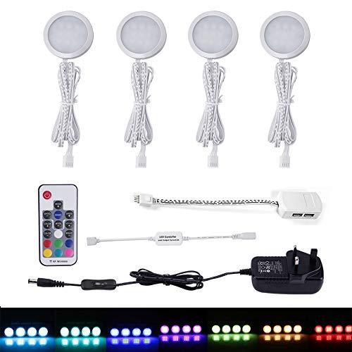aiboo® RGB unter Kabinett Licht Kit 10W LED Puck Light mit Mini RGB RF Wireless Fernbedienung Controller und UK-Stecker 100-240V für Innen Beleuchtung 4/Set (Kabinett-licht-kit)