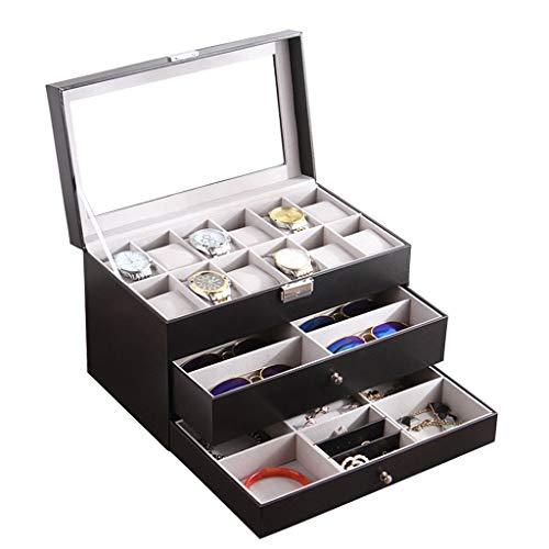QLL Rectangle Uhrenaufbewahrung Uhrenbox mit Schublade Aus 10 Slots Brillen & Sonnenbrillen-Etui Schmuckbox Schmuckskästchen Organizer (Color : Black)