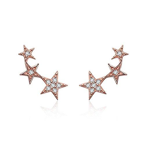 Orecchini in argento sterling 925, Oro rosa Stile delle stelle Orecchini con Cubic Zirconia Diamante simulato Gioielleria di moda Regali per donne donne Ragazze