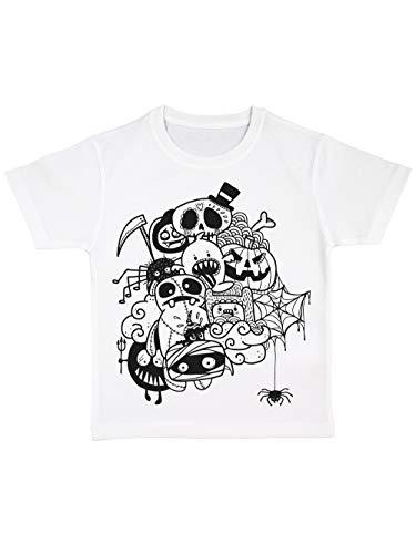 clothinx Kinder T-Shirt Bio Halloween Doodle Weiß/Schwarz Größe 92