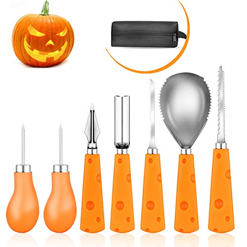 Elindio Halloween Kürbis-Schnitzset, 7 Stück Kürbis Schnitzwerkzeuge Robuste Edelstahl Pumpkin Carving Tool Kit Für Kinder Erwachsene DIY Halloween Party Dekorationen