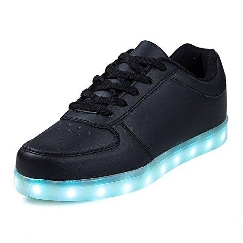 Dogeek unisex/uomo nero scarpe led 35 luminosi sneakers scarpe con le luci accendono scarpe uomo sportive
