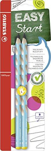 Ergonomischer Dreikant-Bleistift für Linkshänder - STABILO EASYgraph in blau - Härtegrad B - 2er Pack -