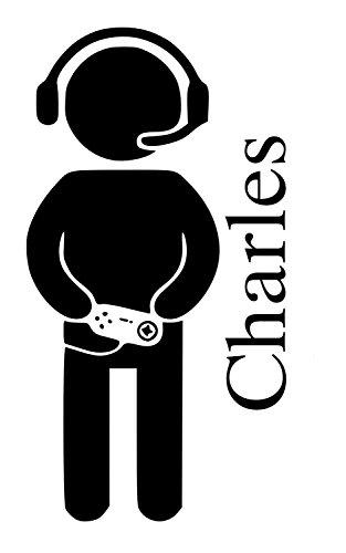 Gamer Lettore Charles nome lettere cameretta bambini adesivo da parete