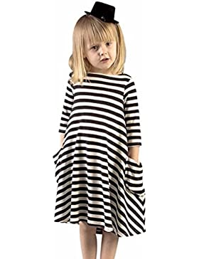 Vestido de niña, RETUROM Moda mamá y hija negro vestido de rayas blancas vestido de la familia