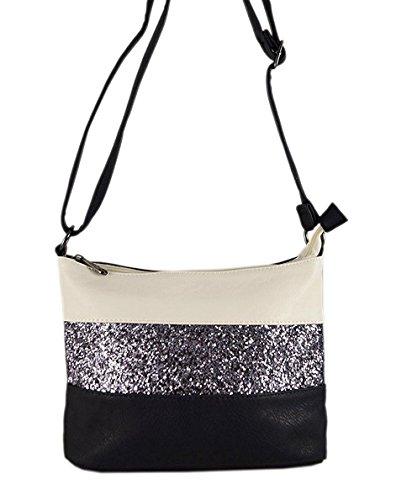 Gallantry -Sac bandoulière / sac porté épaule / sac paillettes femme / Sac Strass (Gris/Noir)
