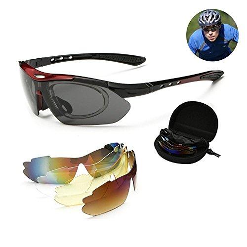 Aolvo occhiali da sole polarizzati–occhiali polarizzati uomini donne uv400ciclismo occhiali da sole per sport outdoor occhiali da sole eyewears professionale con 5lenti intercambiabili e rimovibile miopia frame red frame