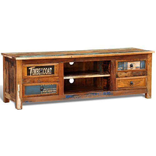 vidaxl antik tv hifi rack lowboard sideboard fernsehtisch vintage holz teak retro 4 m. Black Bedroom Furniture Sets. Home Design Ideas