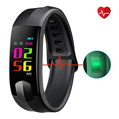 Fitness Tracker, CHEREEKI Colour Screen Fitness Trackers with Heart Rate Monitor Waterproof Activity Tracker Smart Watch Smartwatch with Sleep Monitor Messages Storage SNS Messages for Android and iOS for Kids Women Men by CHEREEKI