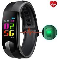 CHEREEKI Fitness Tracker Tracker d'Activité Écran Couleur avec Moniteur de Fréquence Cardiaque Montre Cardio avec Moniteur de Sommeil Compatible avec IOS et Android/ Appels Entrants/ Messages SNS
