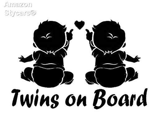 Preisvergleich Produktbild Stycars® 19.1Cm*12.5Cm Twins On Board Super Lovable Waterproofing Vinyl Sticker Decal Car Black