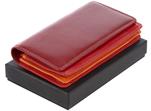 """Visconti portafoglio di pelle da donna a piegatura doppia """"Rainbow"""" multicolore Multicolor Purse (Brown Multi) Red Multi"""