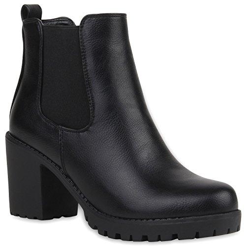 Stylische Damen Boots Stiefeletten Chelsea Boots Knöchelhohe Stiefel Zipper Leder-Optik Booties Schuhe 106119 Schwarz 41 Flandell