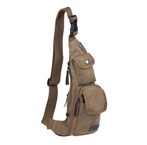 Imagen de unives bolso bandolera de lona de tela para hombro  de ciclismo bolsa de pecho café alternativa