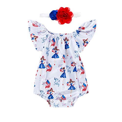 Knowin-baby body 4. Juli Independence Day Baby fliegen Ärmel Brief Banner gedruckt Lace + Hair Strap Set Brief Flagge drucken Strampler Baby T-Shirt Boy and Girl -