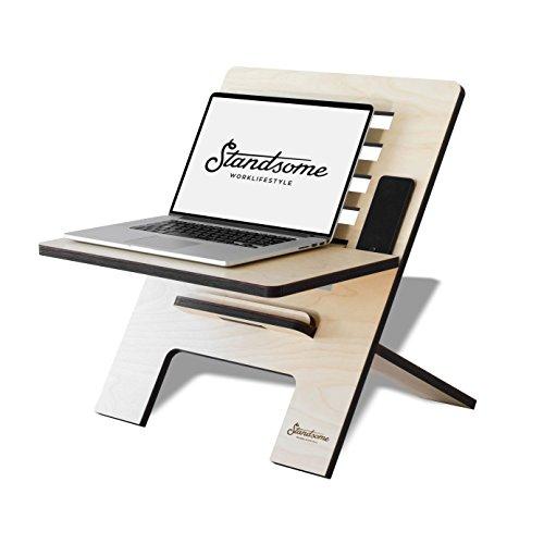 Stehschreibtisch Aufsatz aus Holz - Der höhenverstellbare STANDSOME SLIM Steh Sitz Schreibtisch...