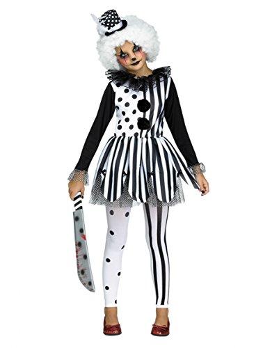 3-tlg. Killer Clown Harlekin Kostüm-Set für Mädchen an Halloween M