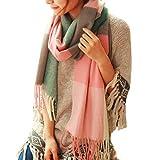 Youson Girl Mujeres caliente Mantas Cozy Pashmina bufanda larga tartán enrejado mantón (A)