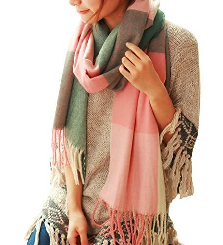 Youson Girl Mujeres caliente Mantas Cozy Pashmina bufanda larga tartán enrejado mantón A