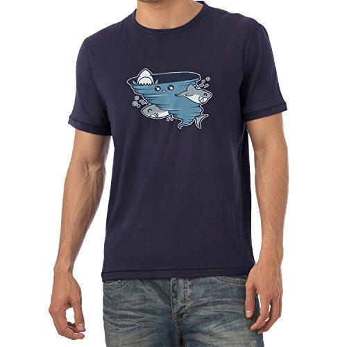 Texlab Cute Shark Tornado - Herren T-Shirt, Größe XXL, Navy