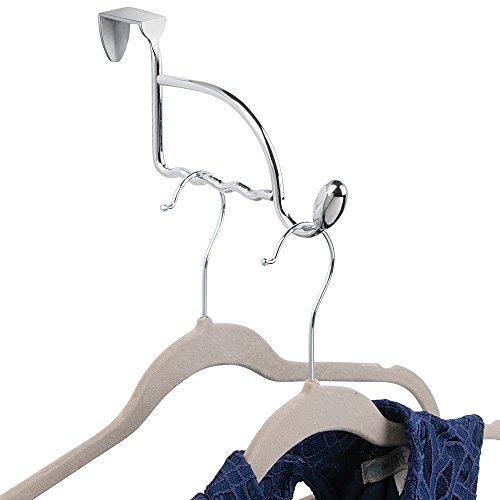 mDesign Türgarderobe – Garderobenhaken zum Hängen über der Tür – 1 Haken für Mäntel, Jacken, Bademäntel, Handtücher in Flur und Bad – Flurgarderobe aus Metall – Farbe: Chrom