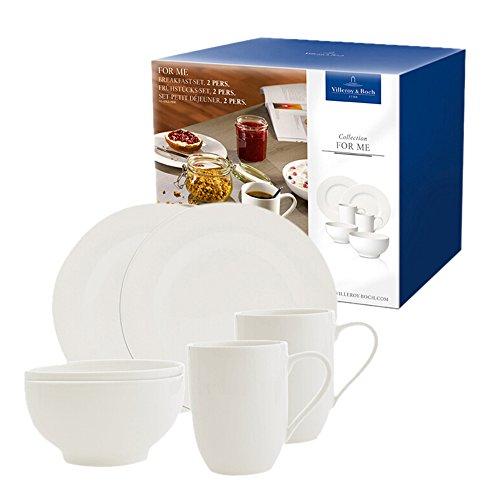 Villeroy & Boch 10-4153-7041 For Me Frühstücks-Set 2 Personen, Porzellan im puristischen weißen Design, 6-teilig