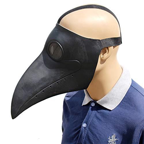 Naturlatex Doktor Black Bird Mundmaske, Luxus Neuheit Halloween Tierkopf Kostüm, Cosplay Erwachsene Party Volle Kopfmaske