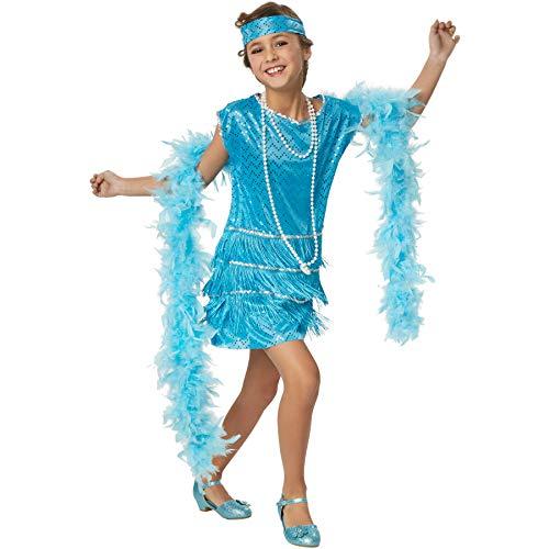 dressforfun 900308 - Mädchenkostüm Broadway Girl, Stilechtes Outfit der 20er Jahre, Kurzes Kleid in Türkis (140 | Nr. 301566)