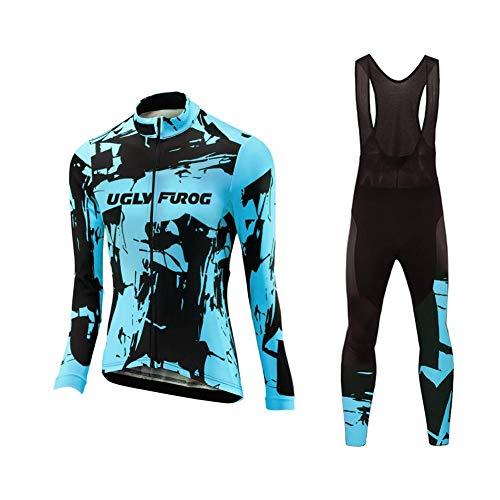 Uglyfrog Radtrikot Fahrradbekleidung Set Langarm Winddicht Damen Thermische Fleece mit 3D Polster Hosen