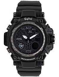 VILAM Analog-Digital Multi Function Black Dial Men's Sports Watch (Sylvi-G-Black)