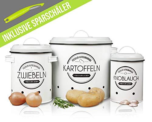 LOFTASTIC Vorratsbehälter Set inkl. Sparschäler - Perfekt für Kartoffeln, Knoblauch und Zwiebeln - Die stilvollste Art für noch länger frisches Gemüse