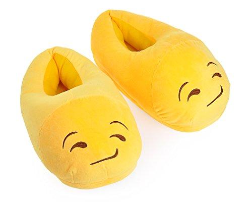 Nette Warme EMOJ Winter Erwachsene Schuhe Männer / Damen Hausschuhe Weich Fun Emoticon Slipper für Unisex Jungen / Mädchen smirking