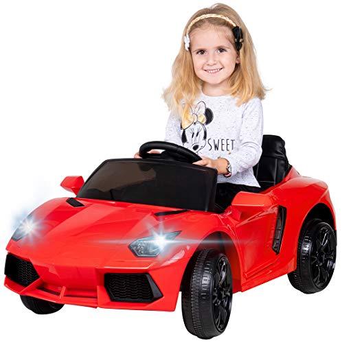 Actionbikes Motors Kinder Elektroauto Super Sport - Ledersitz - Mp3 - USB - SD - 2,4 Ghz Rc Fernbedienung mit Not Stop - Softstart - Elektro Auto für Kinder ab 3 Jahre (Rot)
