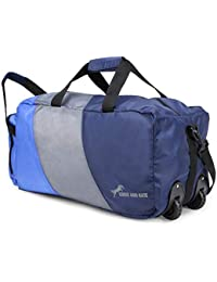 Chris & Kate Polyester 50 Litres Lightweight Foldable Duffle Bag with Wheels (Blue and Grey)