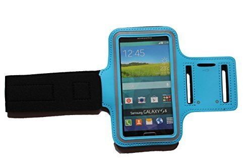 Sport-armband Hell-Blau, Fitness-hülle Running Handy Tasche Case für Apple ipod touch g iphone 3 4 5 S C, Samsung Galaxy 3 und 4 mini, Huawei Y330 Nokia Lumia 530, 532 Kopfhöreranschluss - Dealbude24 (Hellblau)