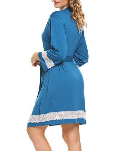 HOTOUCH Damen Bademantel Morgenmantel Kimono Sleepwear Saunamantel Leicht Bademantel mit Blumenspitze Blau