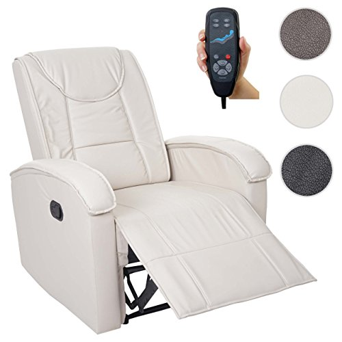 Massage-Fernsehsessel HWC-T964, Relaxsessel Sessel, Heizfunktion ~ creme