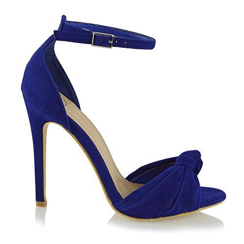 Essex Glam Femmes Cheville Sangle À Talons Hauts Peep Toe Synthétique Sandales De Mariée Faux Suede Bleu Clair