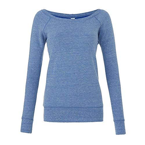 Bella - Mia Slouchy Wideneck Sweatshirt / Blue Triblend, M M,Blue Triblend Mia Womens Sweatshirt