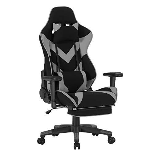 WOLTU BS21gr Chaise de Bureau Racing Chaise pour Gaming avec Repose-tête et Repose-Pieds,Coussins en Tissu, accoudoir et Hauteur réglable,Gris