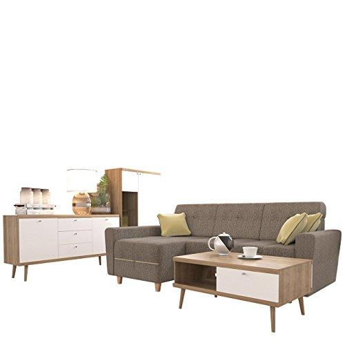 Wohnzimmer Set Primo 8 + Ecksofa Grey, Wohnzimmer Im Skandinavischen Stil,  Inkl. LED Beleuchtung, Schlafsofa, Kommode, Vitrine Und Couchtisch, ...