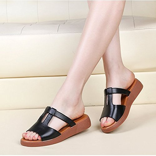 Sommer Damen Mode Sandalen komfortable High Heels, 35 pure Pink Black