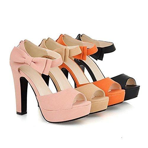 Minetom Donne Ragazze Elegante Sandali Tacco Alto Sandali Con Bowknot Peep Toe Scarpe Arancione