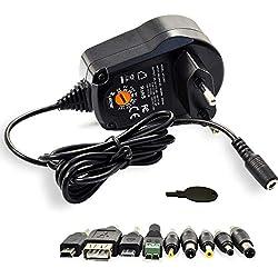 LEICKE Adaptateur d'alimentation universel 5-15V 15V 300mA / 500mA / 600mA / 1A /1.5A / 2A / 2.4A 12W / 15W / 18W / 20W / 22.5W | Pour les routeurs, commutateurs, tablettes, systèmes de navigation, Raspberry Pi, convertisseur