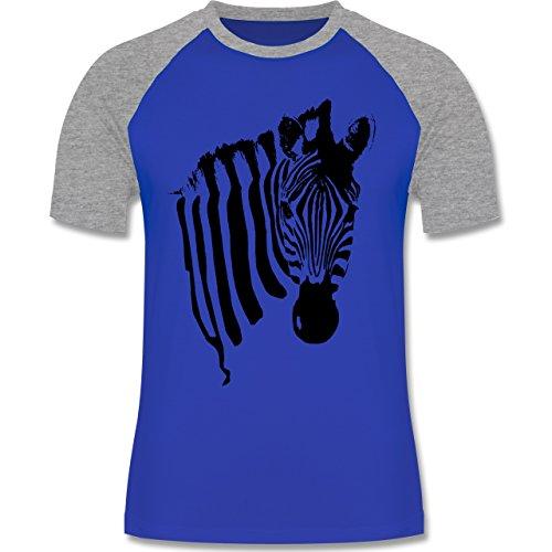 Shirtracer Wildnis - Zebra - Herren Baseball Shirt Royalblau/Grau meliert