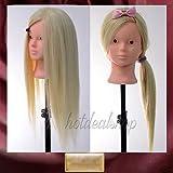 Pedgeo (TM) Nuovo 61cm Blonde 90% capelli umani testa di manichino per allenamento di trucco e parrucchieri C20