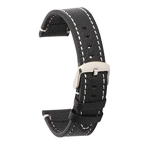 Kalbsleder Uhrenarmbänder Riemen 21mm schwarz für Damen Herren Weiches Leder Ersatzarmbänder 21mm (Navy Leder Uhrenarmband)