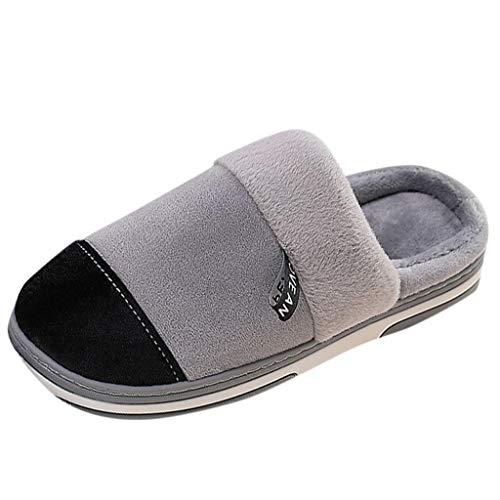 HDUFGJ Hausschuhe Herren Damen warme Pantoffeln Plüsch Warm Home rutschfeste Slippers Pantoffeln Bequem Wärme Halten House Schuhe40 EU-41 EU(Grau)
