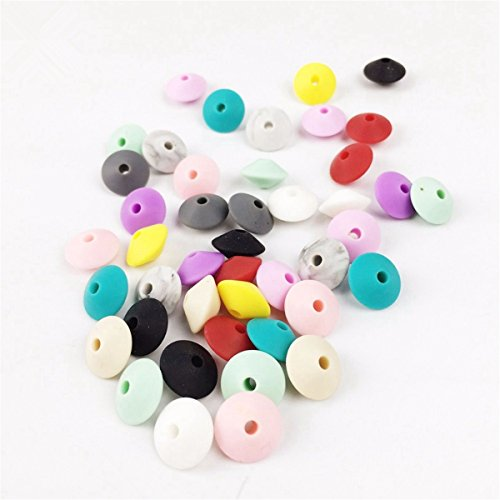 Silicone Teething Abacus Beads Marble Colorful Rhombus Baby Bracelet 50pc DIY Crafts Silicone Teether Pendant Beads