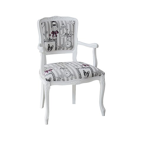 Pieffe mobili poltroncina stoffa paris, legno, bianco, taglia unica